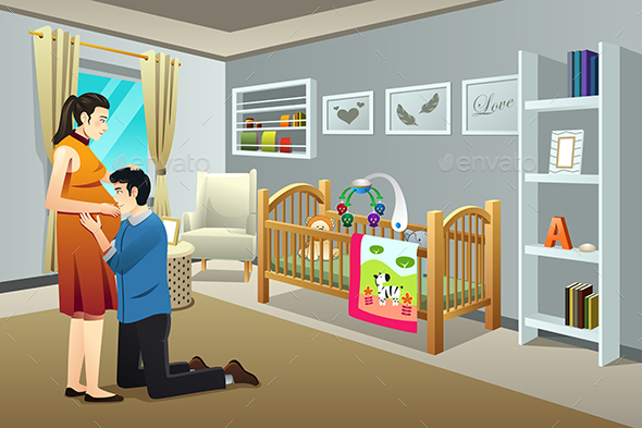 Pregnant Woman with Her Husband in the Nursery Room - People Characters