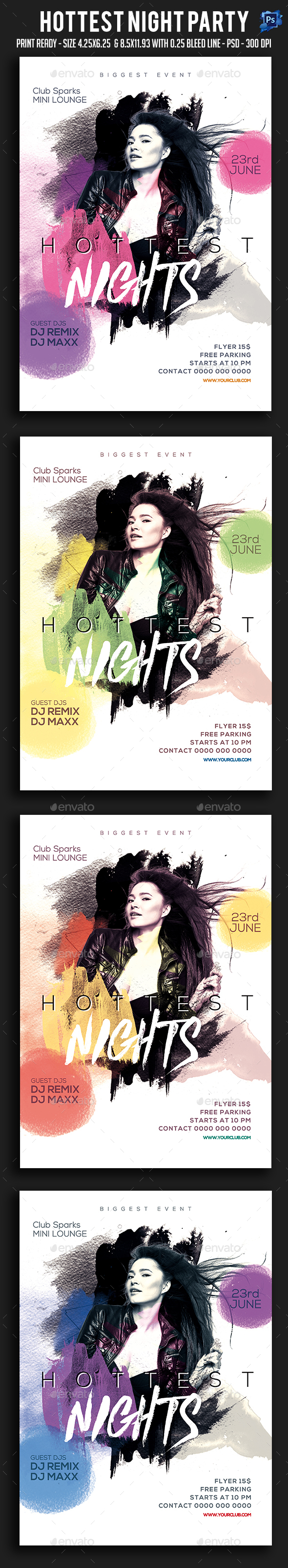 Hottest Night Party Flyer - Clubs & Parties Events