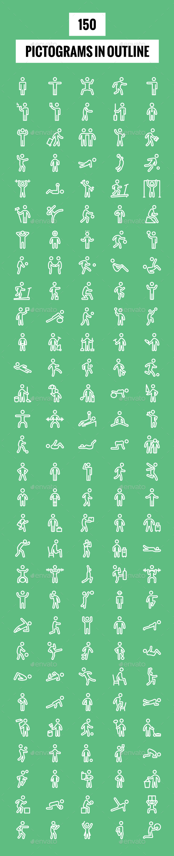 150 Pictograms in Outline - Icons