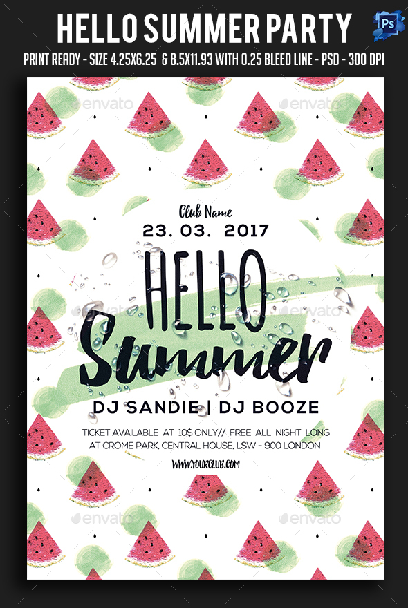 Hello Summer Party Flyer - Clubs & Parties Events