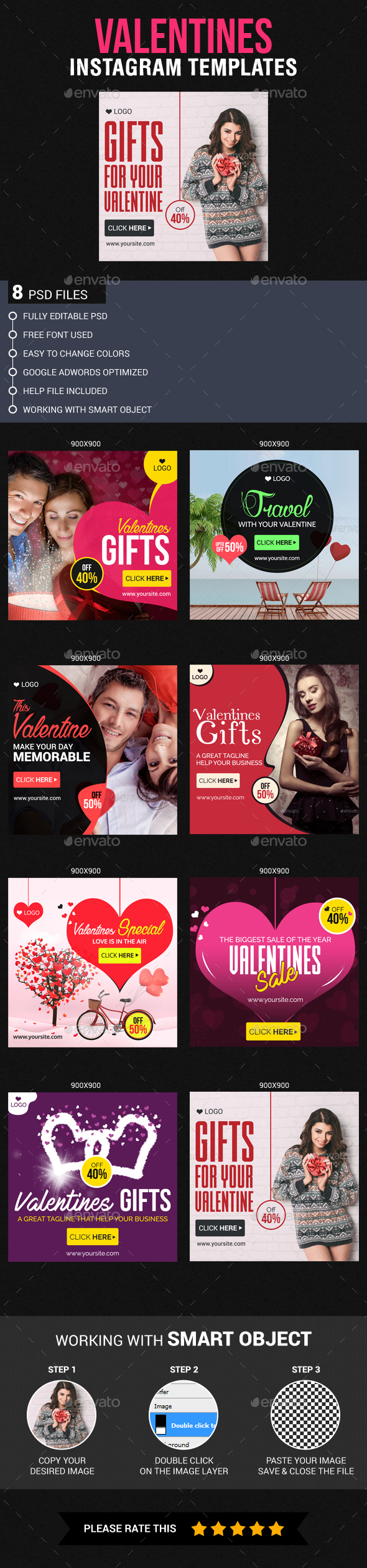 Valentines Instagram Templates - Banners & Ads Web Elements