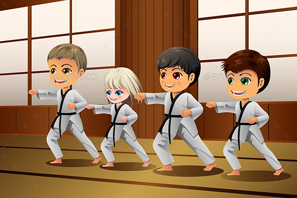 Kids Practicing Martial Arts in the Dojo - Sports/Activity Conceptual
