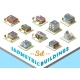 Vector Isometric Buildings Set - GraphicRiver Item for Sale
