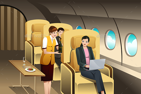 First Class Passengers Being Served by the Flight Attendant - Travel Conceptual
