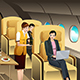 First Class Passengers Being Served by the Flight Attendant - GraphicRiver Item for Sale