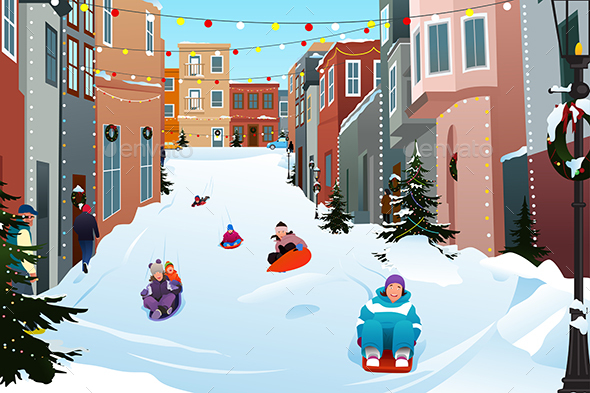 Kids Sledding on a Snowy Street During Winter Season - People Characters