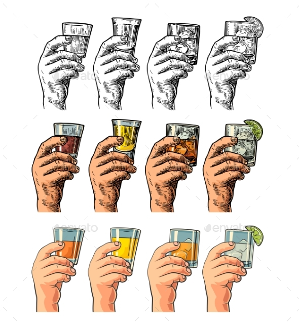 Male Hand Holding Glasses Drinks - Food Objects
