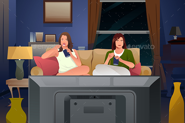 Two Female Friends Watching TV and Eating Ice Cream - People Characters