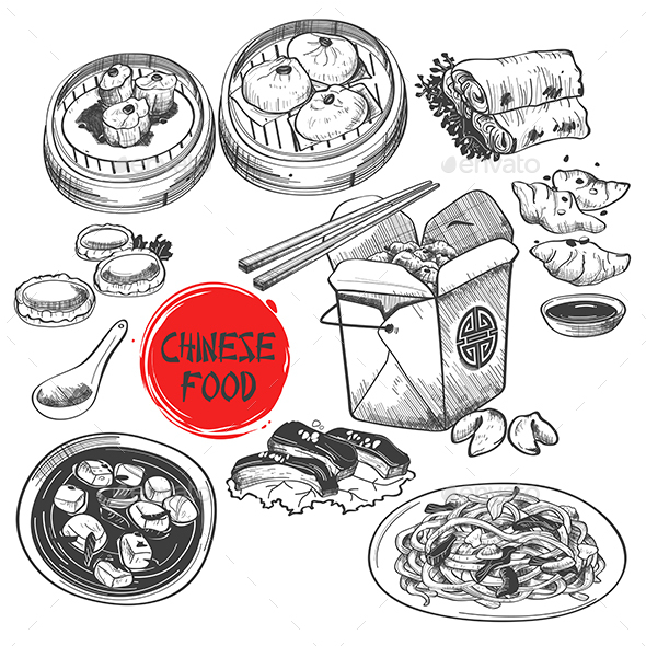 Chinese Dim Sum Dish in Ink Style - Food Objects