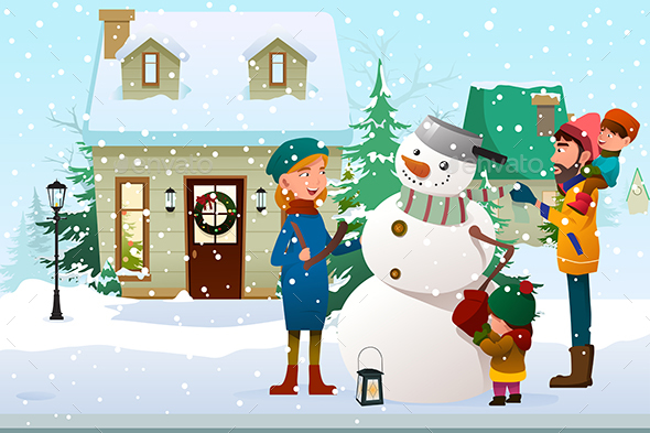 Family Building a Snowman Outdoor - People Characters