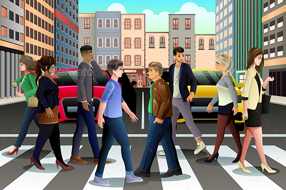 City People Crossing the Street During Rush Hour - People Characters