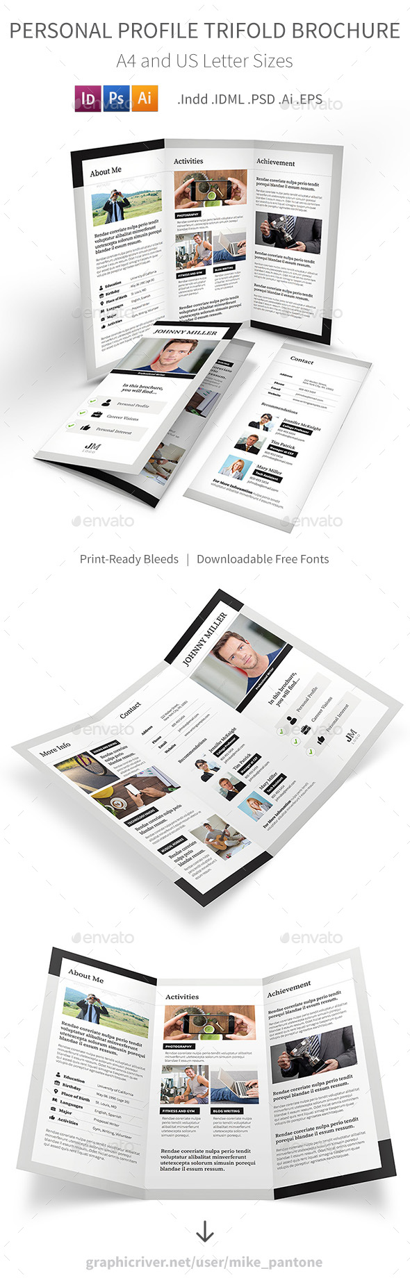 Personal Profile Trifold Brochure - Informational Brochures