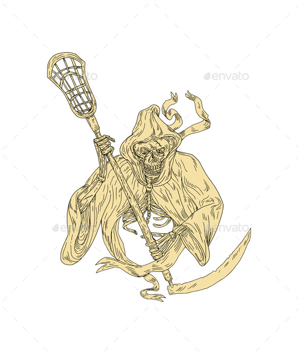 Grim Reaper Lacrosse Stick Drawing - Monsters Characters