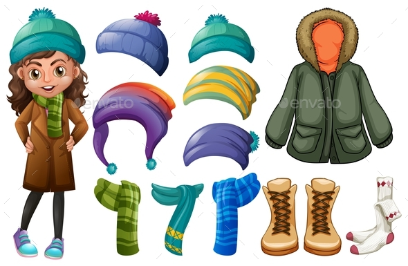 Girl and Different Types of Winter Clothes - People Characters