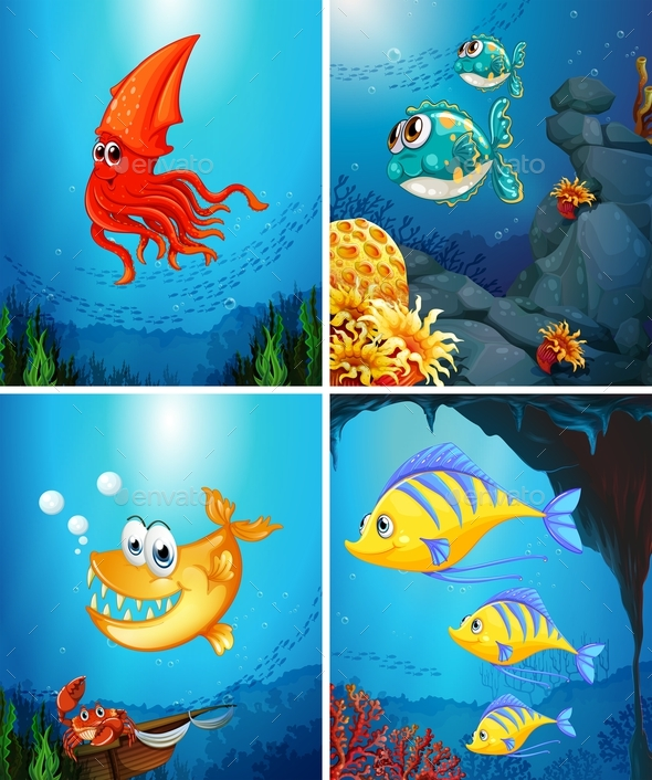 Sea Animals Living Under the Ocean - Animals Characters