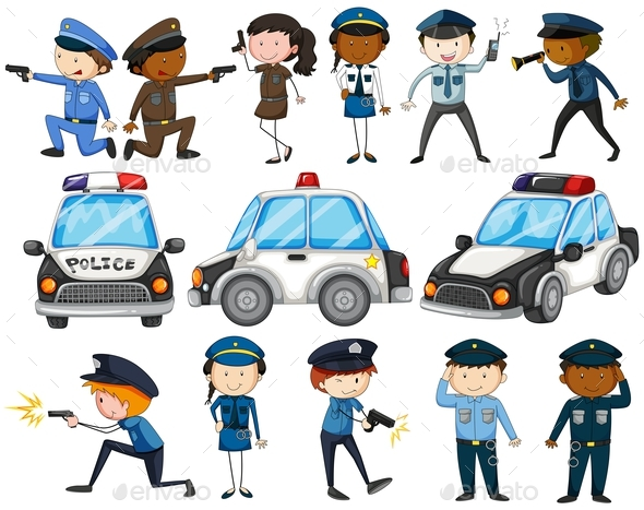 Set of Police Officers and Cars - People Characters