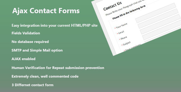 PHP Ajax Contact Forms - CodeCanyon Item for Sale