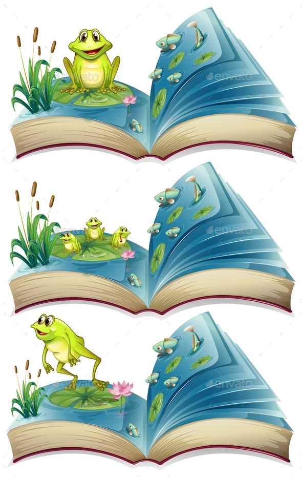 Books of Frogs Living in the Pond - Man-made Objects Objects