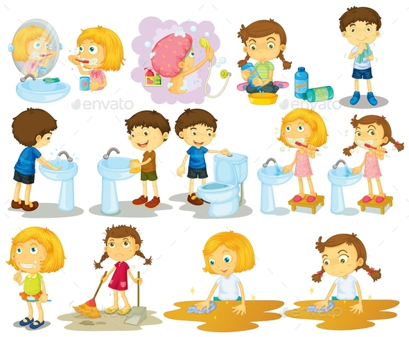 Girls and Boys Doing Chores - People Characters