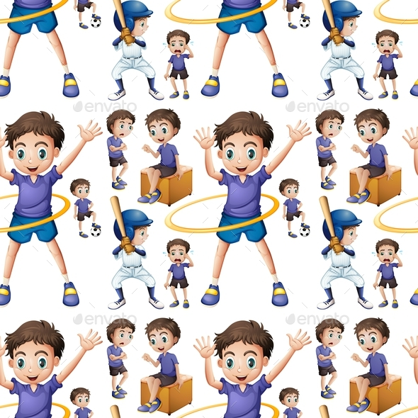 Seamless Boy Doing Different Activities - People Characters