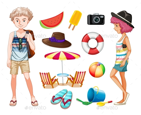 Hipsters and Beach Objects - People Characters