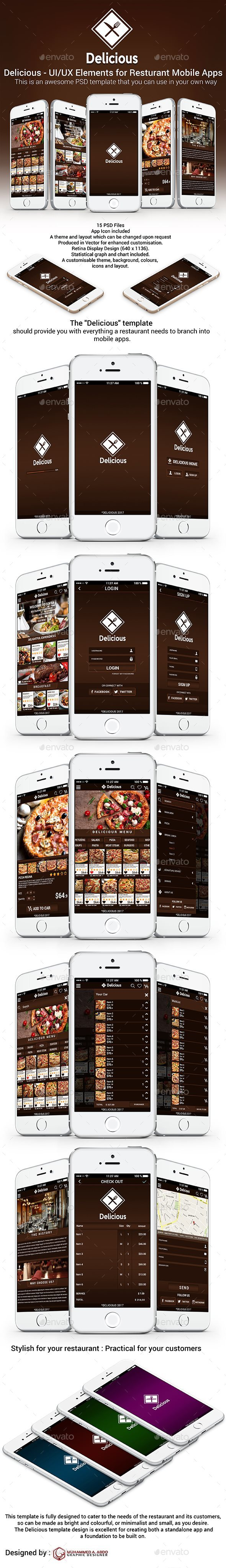 Delicious - UI/UX Elements for Resturant Mobile Apps - Web Elements