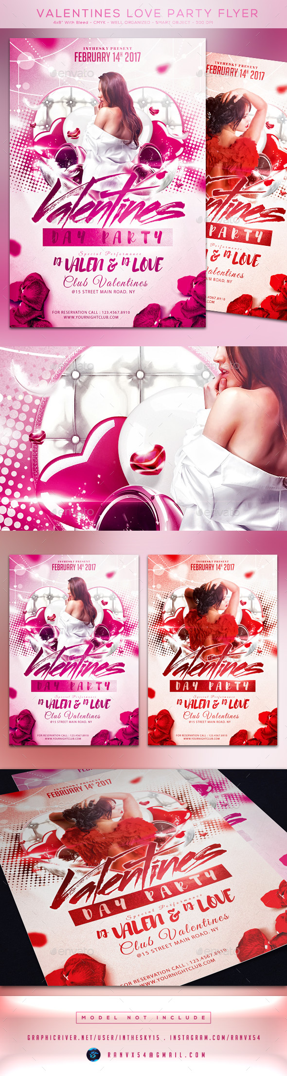 Valentines Love Party Flyer Template - Flyers Print Templates