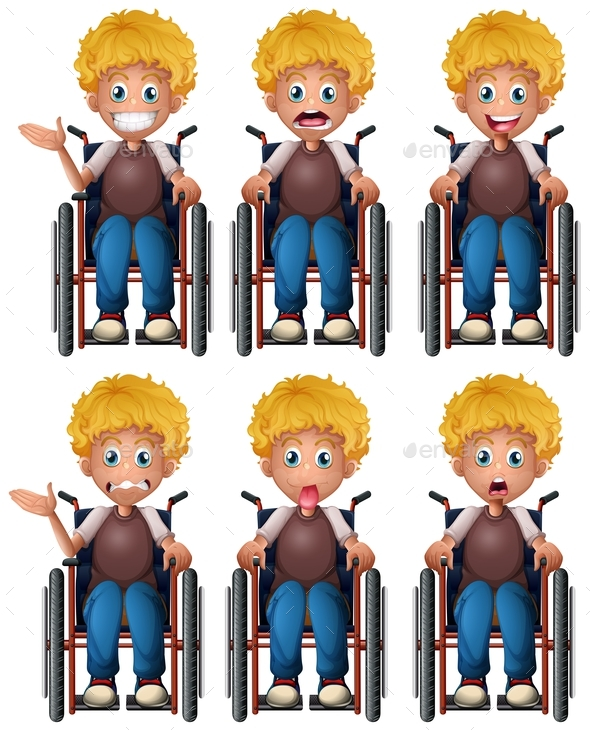 Boy on Wheelchair with Different Emotions - People Characters