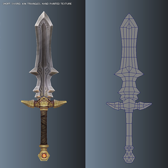 Low Poly Simple Short Sword 03 - 3DOcean Item for Sale