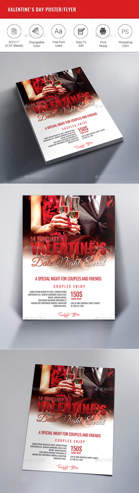 Valentine's Day Party Poster/Flyer - Clubs & Parties Events
