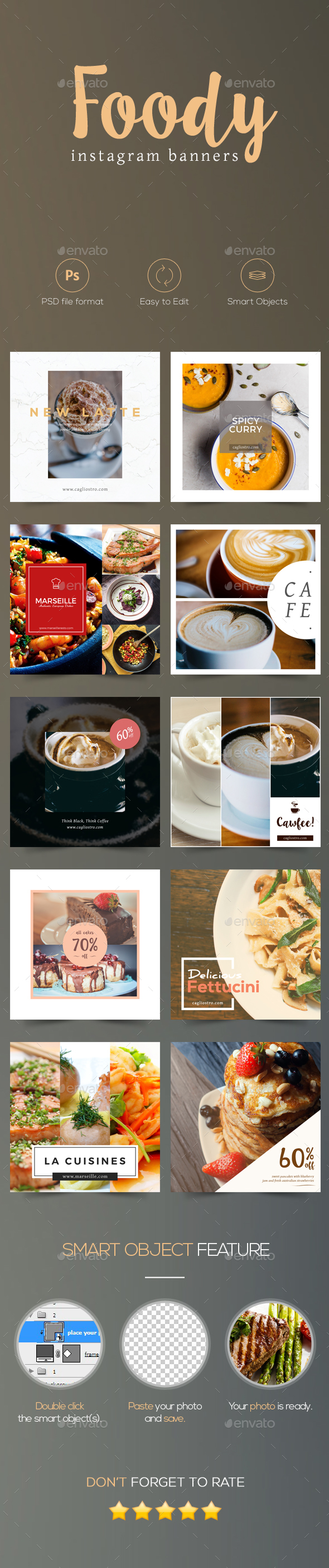Foody - Cafe and Restaurant Instagram Banners - Miscellaneous Social Media