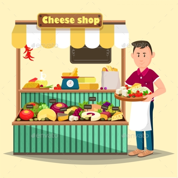 Showcase with Man Selling Cheese Products - Food Objects
