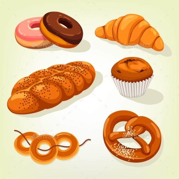 Multigrain Bread and Bakery Cake, Croissant - Food Objects