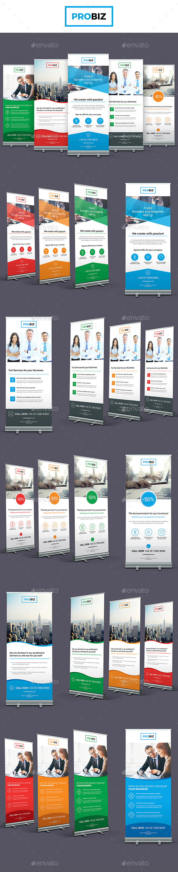 ProBiz – Business and Corporate Roll Up Banners - Signage Print Templates