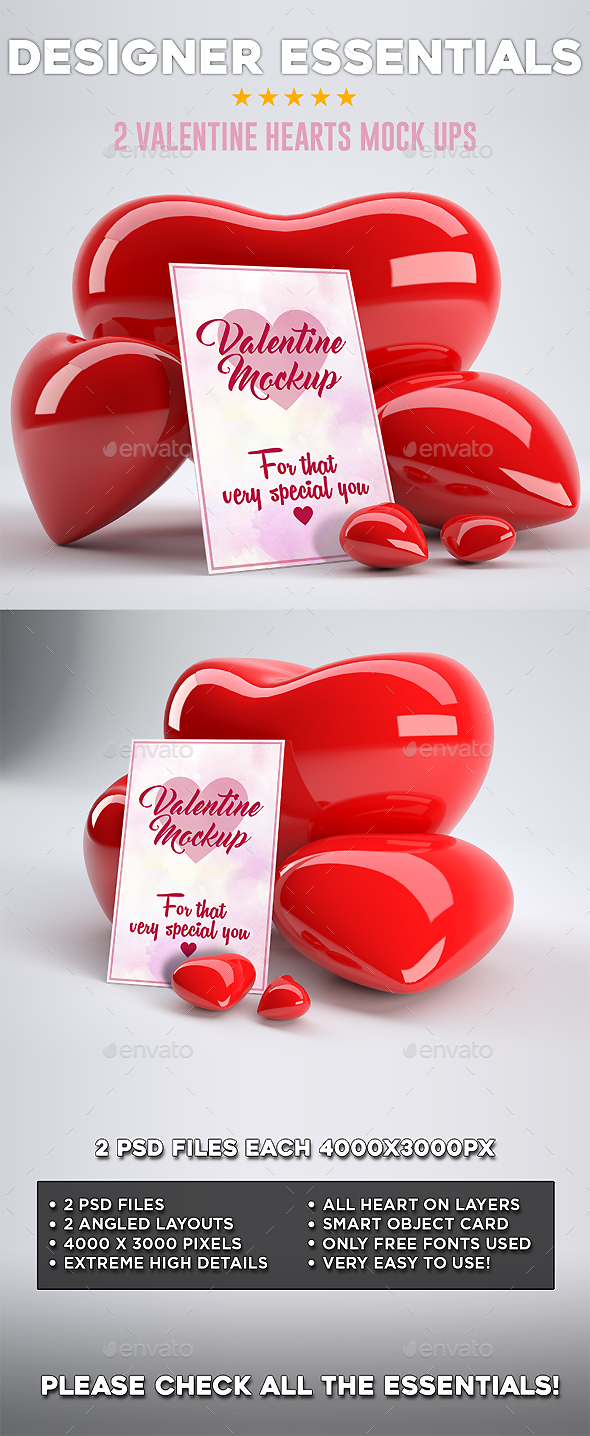 2 Valentine Hearts Mock ups - Miscellaneous Product Mock-Ups
