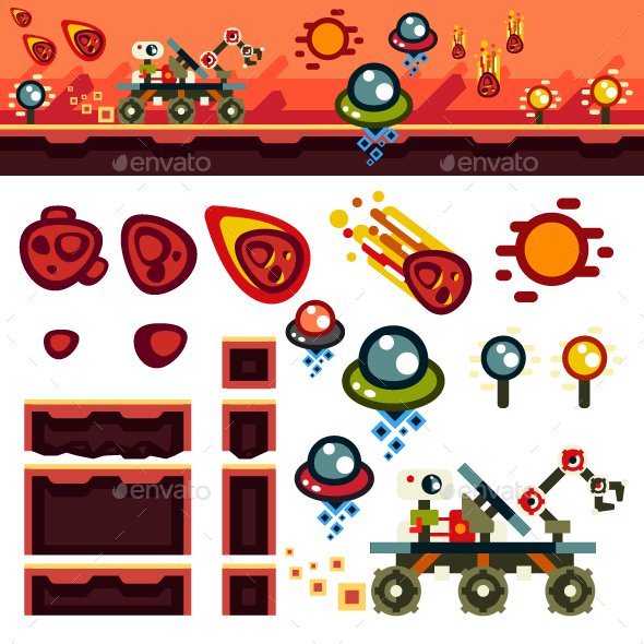 Red Planet Flat Game Level Kit - Objects Vectors