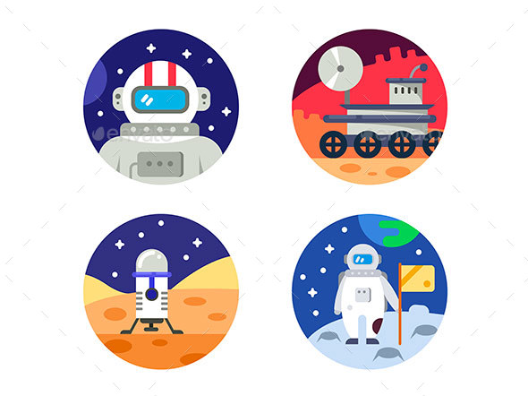Cosmonaut Icons Pixel Perfect - Web Elements Vectors