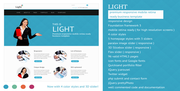 Light - Responsive Mobile Retina Ready Template - Corporate Site Templates