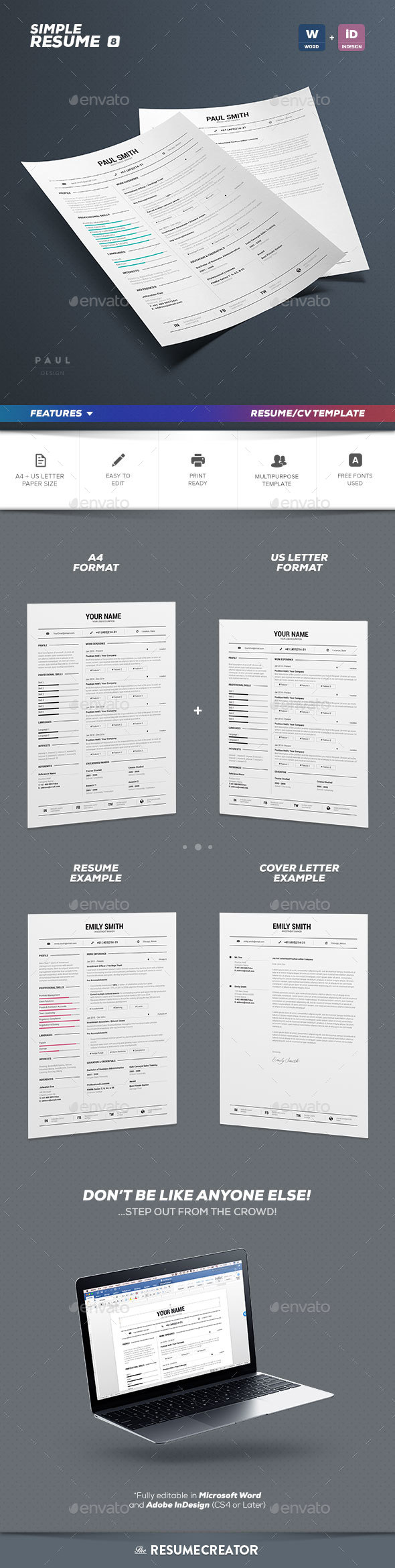 simple resume  cv volume 8 by paolo6180