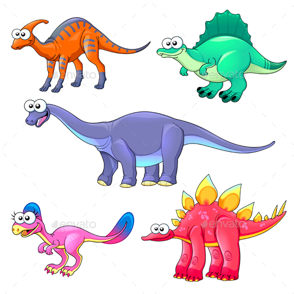 Group of Funny Dinosaurs - Animals Characters