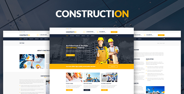 Construction – Architecture, Builder, Construction Company PSD Template - Business Corporate