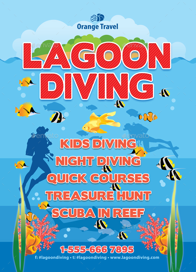 Scuba Diving Lagoon Poster Template 36 By 21min Graphicriver