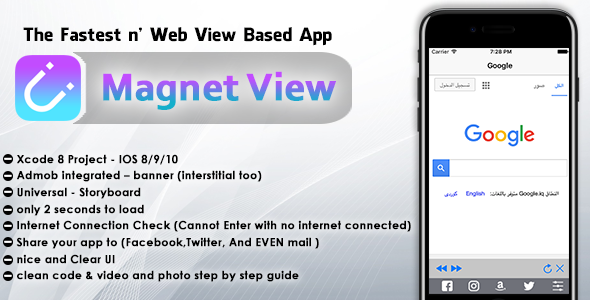 Magnet View : WebView for IOS, Admob,in-app, toolbar with 5 tabs
