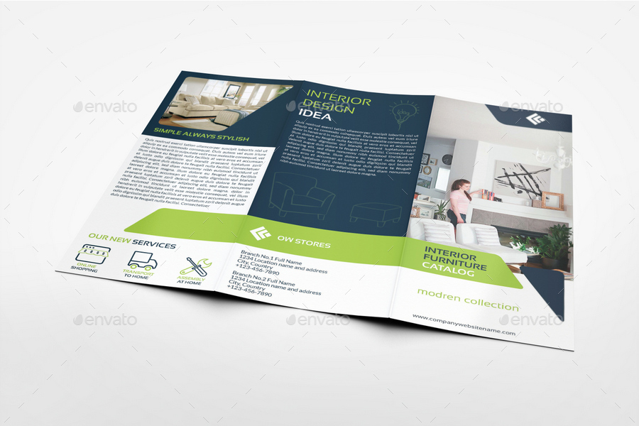 Furniture Products Catalog Tri Fold Brochure Template Vol2 By