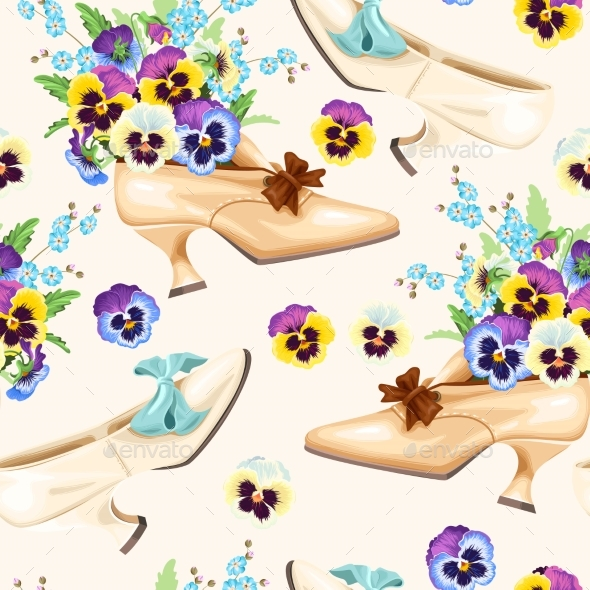 Vintage Shoes Seamless Background - Backgrounds Decorative
