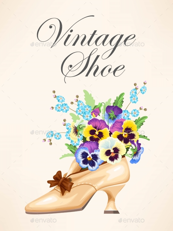Vintage Shoe with Pansies - Weddings Seasons/Holidays