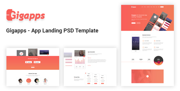 Gigapps – App Landing PSD Template