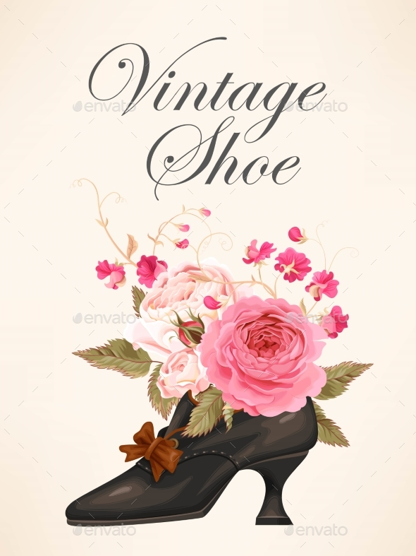 Vintage Shoe with Roses - Weddings Seasons/Holidays