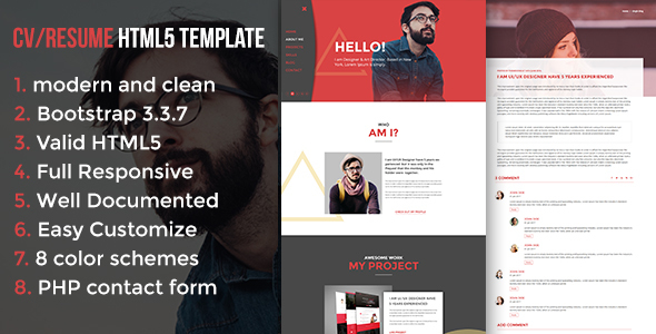 Image of Modern CV / Resume HTML5 Template