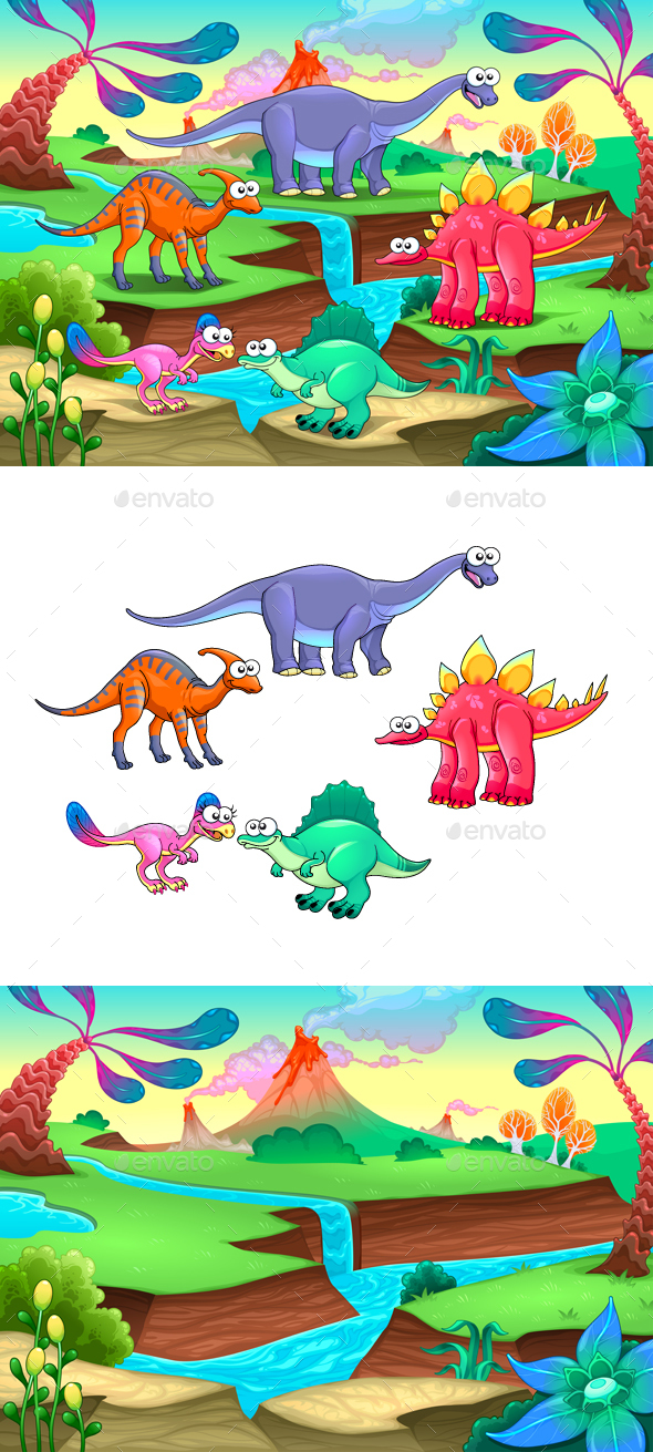 Group of Funny Dinosaurs in a Prehistoric Landscape - Animals Characters